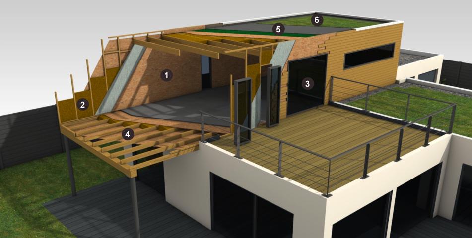 Maison ossature bois bois et passion for Construction toit plat ossature bois