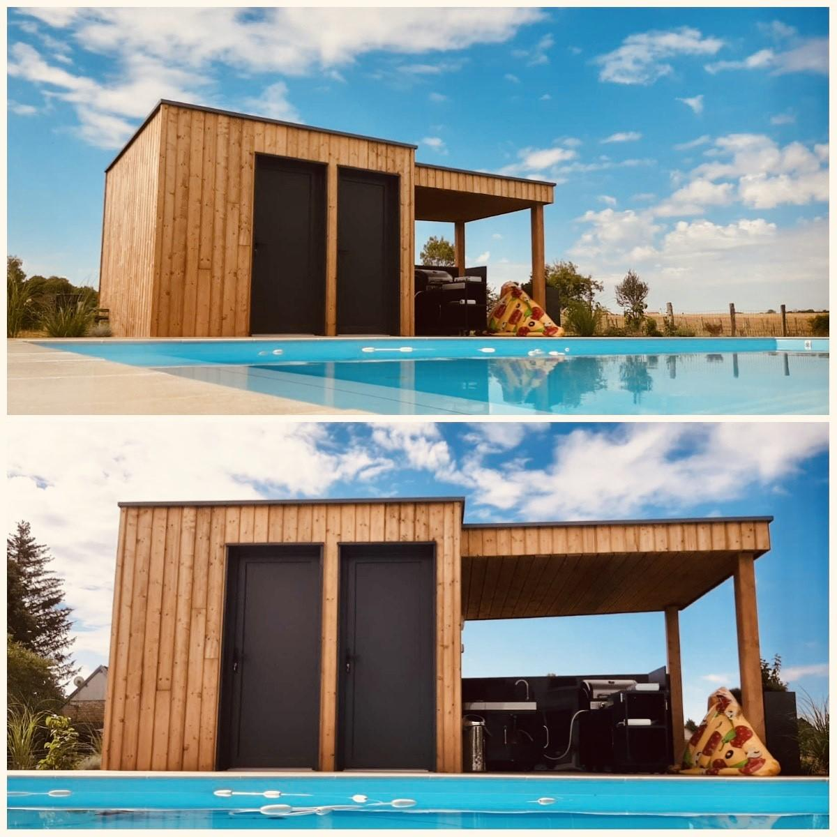 Pool house en pin autoclave